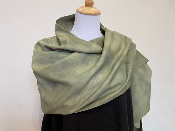 plant dyed green silk scarf
