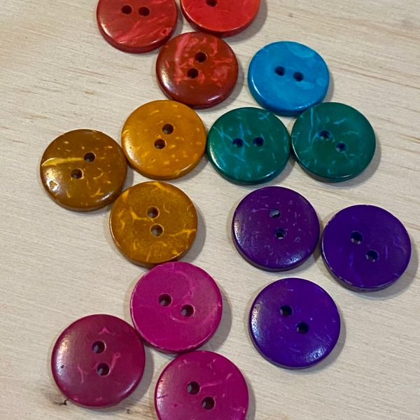 Brightly coloured coconut shell buttons 15mm