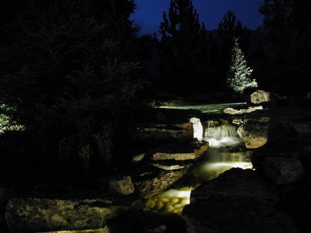 Baylites - outdoor landscape lighting - pond and waterfall