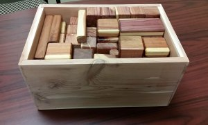 Wooden blocks and boxes