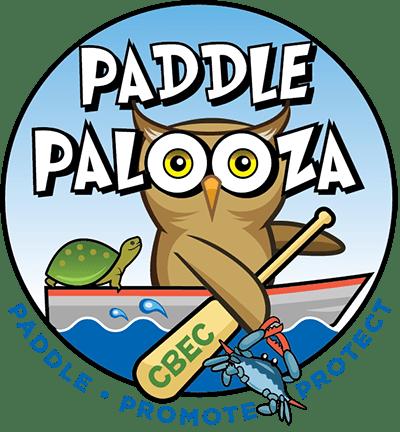 Paddlepalooza logo with owl kayaking