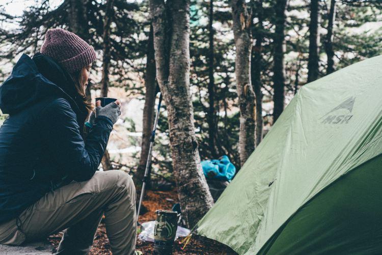 woman camping gluten free menu