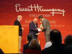 Kevin Powers receiving the Hemingway Foundation/PEN Award for The Yellow Birds.