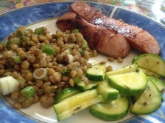 Served with keilbasa and zucchini