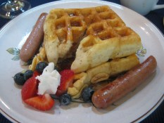 Waffles! Very fluffy and filling!