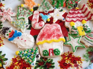 decorated cookies on platter