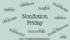 Nonfiction Friday badge with text listing different Dewey Decimal subjects, e.g. literature, religion, technology