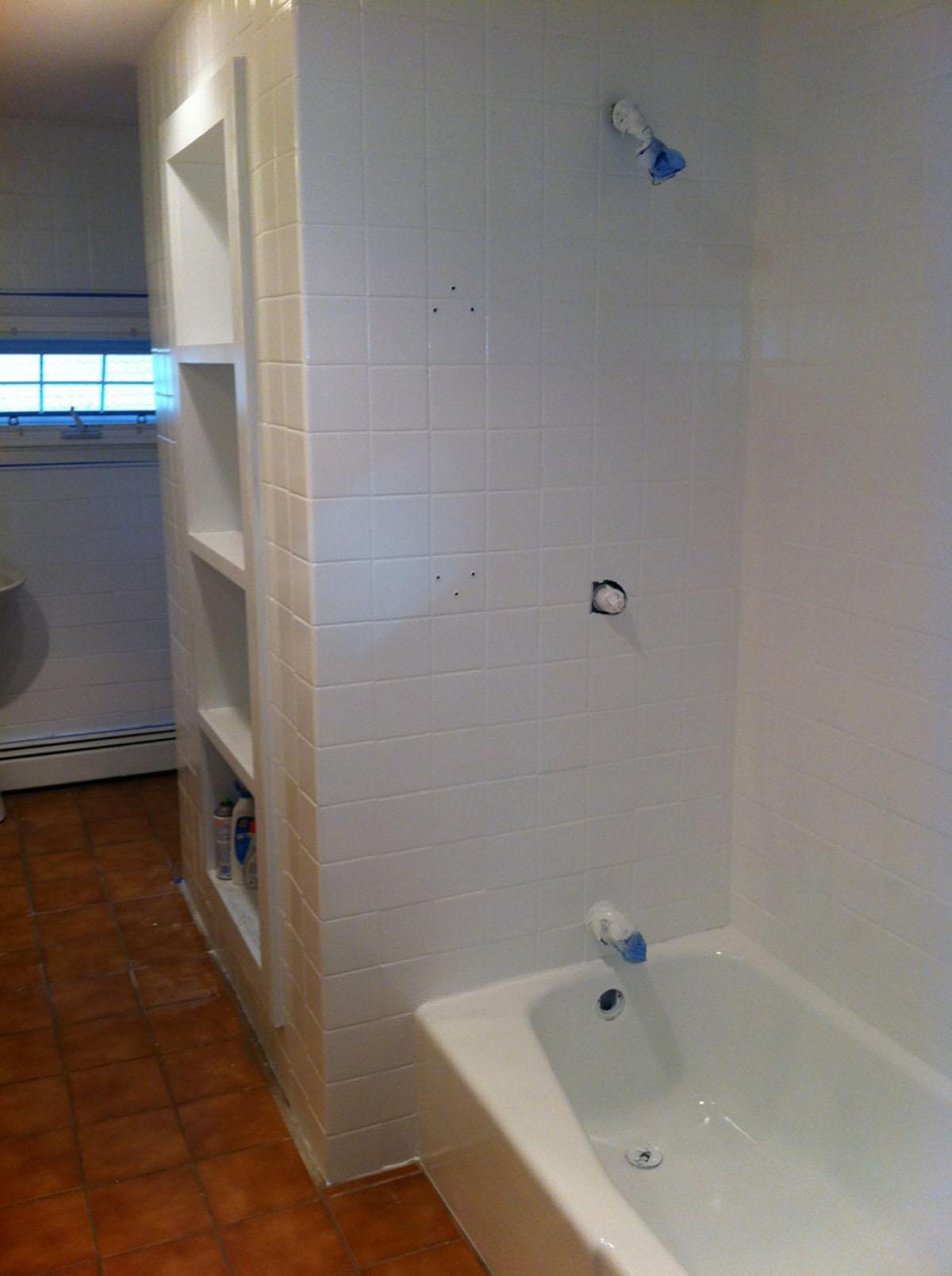 Complete bathroom wall tile refinishing