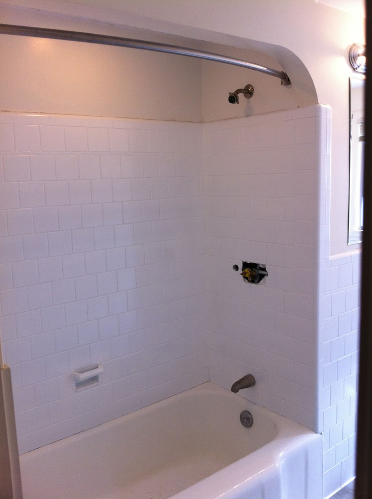 Tile surround after reglazing