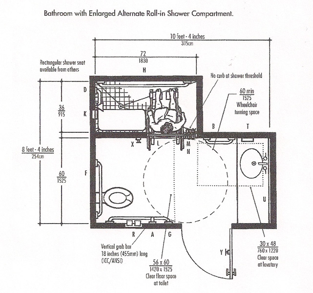 Bathroom with Enlarged Alternate Roll in Shower Compartments