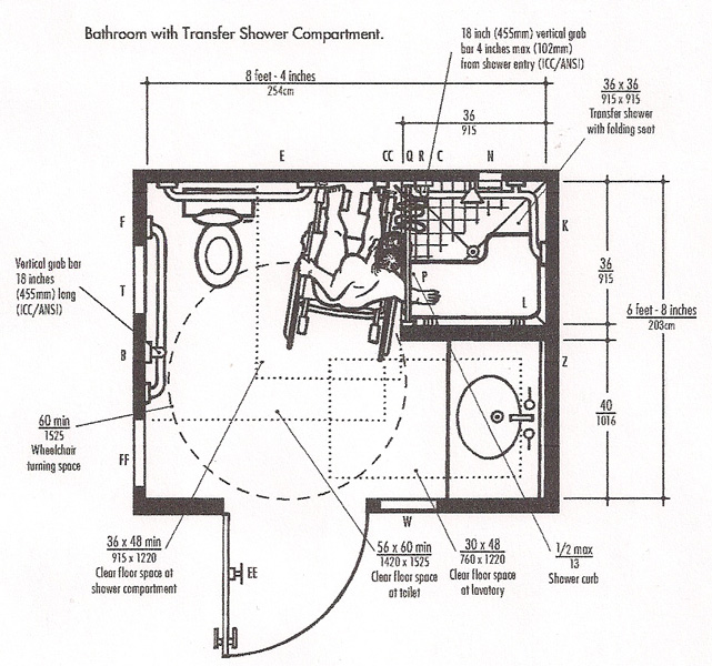 Bathroom with Transfer Shower Compartments
