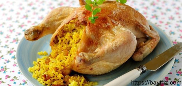 طريقة دجاج محشي بالأرز