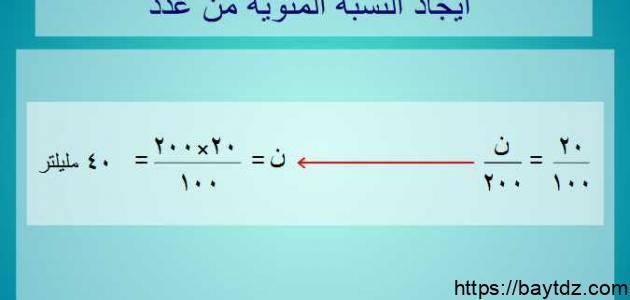 كيفية حساب النسبة المئوية بين رقمين