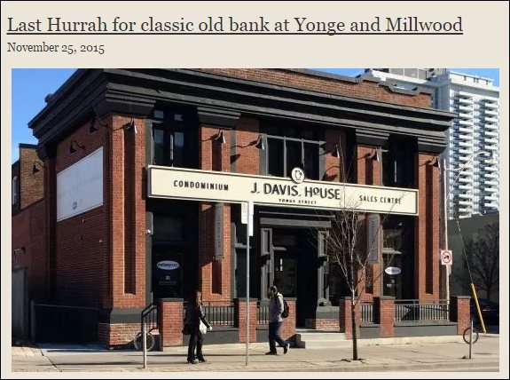Second heritage bank on Yonge St. will fall to wrecker soon