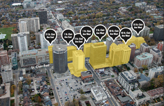 Eight building cluster at Yonge and St. Clair