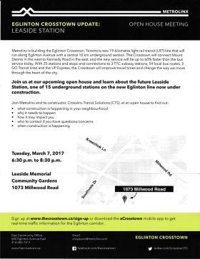 Metrolinx Leaside Station Open House Flyer
