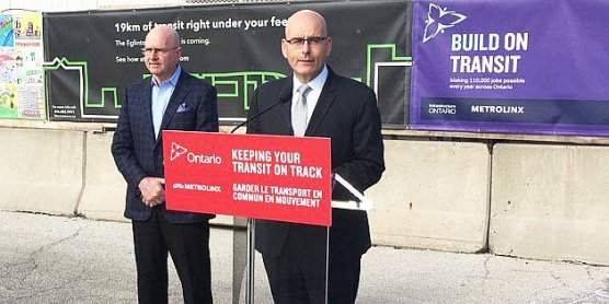 Steven Del Duca at Laird LRT station site Friday
