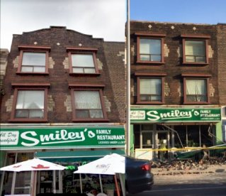Before and after. Rooftop facade gone on right