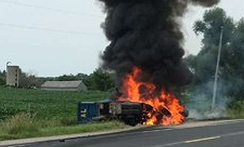 Driver dead in fire after crash with dump truck at Alliston – The