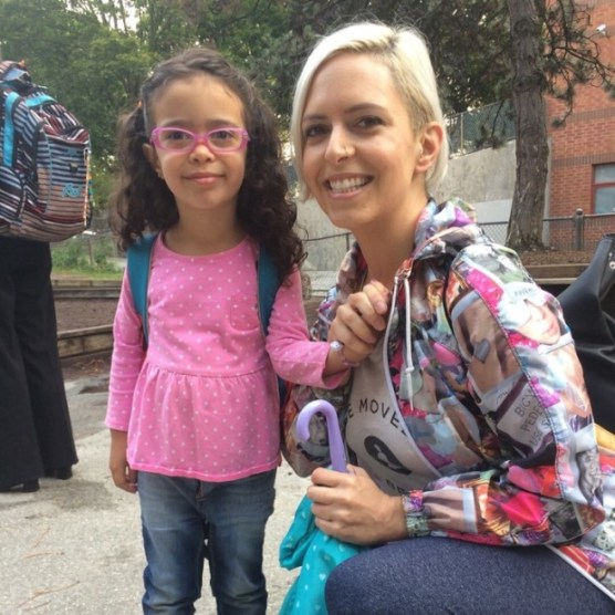 Julie De Sousa, who lives on a side street off Woodbine Avenue, is concerned for the safety of her daughter, 4, and other kids in the neighbourhood, walking to school while cars speed through the neighbourhood to avoid bike lane construction and traffic congestion. (Provided)