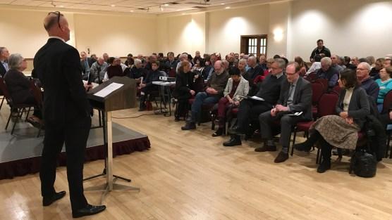 Jon Burnside listens to resident at LPOA meeting