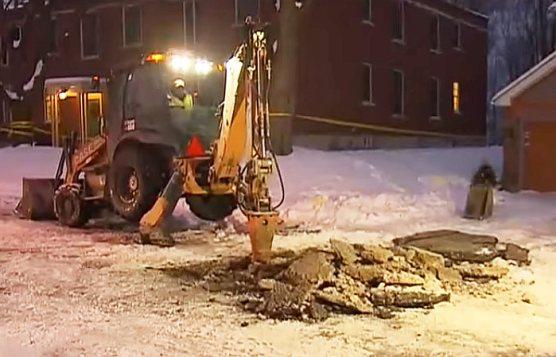 Digging up drain at 53 Mallory