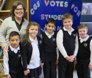 Principal Marie Bates with candidates