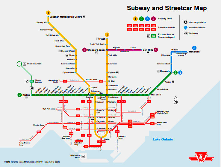graphic about Printable Application for Subway titled TTC publishes printable fresh map of subway, streetcar traces