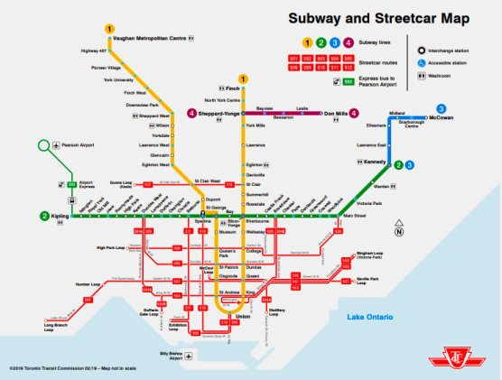 Ttc Subway Map 2018.Ttc Publishes Printable New Map Of Subway Streetcar Lines The