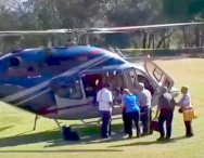 Tourists board helicopter early Saturday/CBC