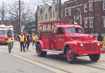 Old fire truck was once housed at the historic Beaches fire hall (277) below