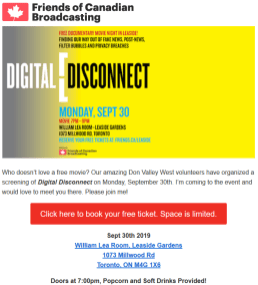 """FRIENDS is proud to present a free screening of the documentary film, """"Digital Disconnect"""". This film explores the impact of the Internet on democracy, and highlights the importance of public broadcasting in filling the gap left behind by the decline in local media and journalism. Following the film, FRIENDS' Executive Director Daniel Bernhard will speak about the crisis facing Canadian media, what it all means for Canadian democracy, and what we can do about it as we approach the federal election in October."""