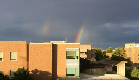 Double Rainbow over Sunnybrook Veterans Centre, June 24, 2020 (Photo: Sarah Byford)