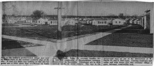 Wilson Park was the site of 374 temporary homes known as Harnischfeger cottages, built by Milwaukee County, to address the critical housing shortage in the Milwaukee area at the end of World War II. They were abandoned in the early 1960's. UNDATED NEWSPAPER CLIPPING COURTESY GLADYS VAUGHT