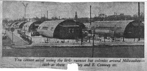 A photograph in an undated clipping from the Milwaukee Journal features the Bay View Quonset hut community. The Immaculate Conception steeple can be seen in the background. COURTESY GLADYS VAUGHT