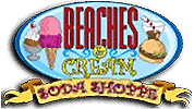 Beaches and Cream soda shop logo, located at Bayville Scream Park