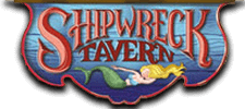 The Shipwreck Tavern logo at Bayville Adventure Park. The restaurant offers a nautical themed atmosphere.