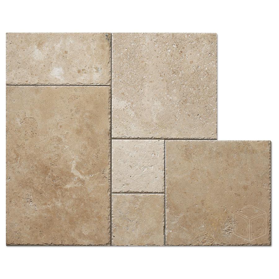 White travertine French pattern tile  Bayyurt Marble