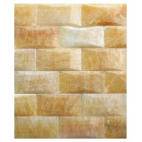 honey onyx mosaic polished 2X4 PILLOWED | Bayyurt Marble