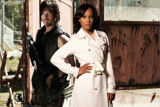 Who can argue with a woman in a white coat and a man with a crossbow?