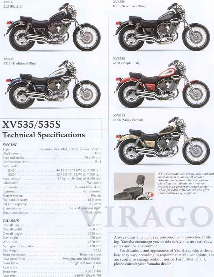 Мотоцикл Yamaha XV 535 Virago 1996 Описание, Фото