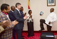 President Museveni juggling a ball during a meeting with sportspesa group in July 2017.