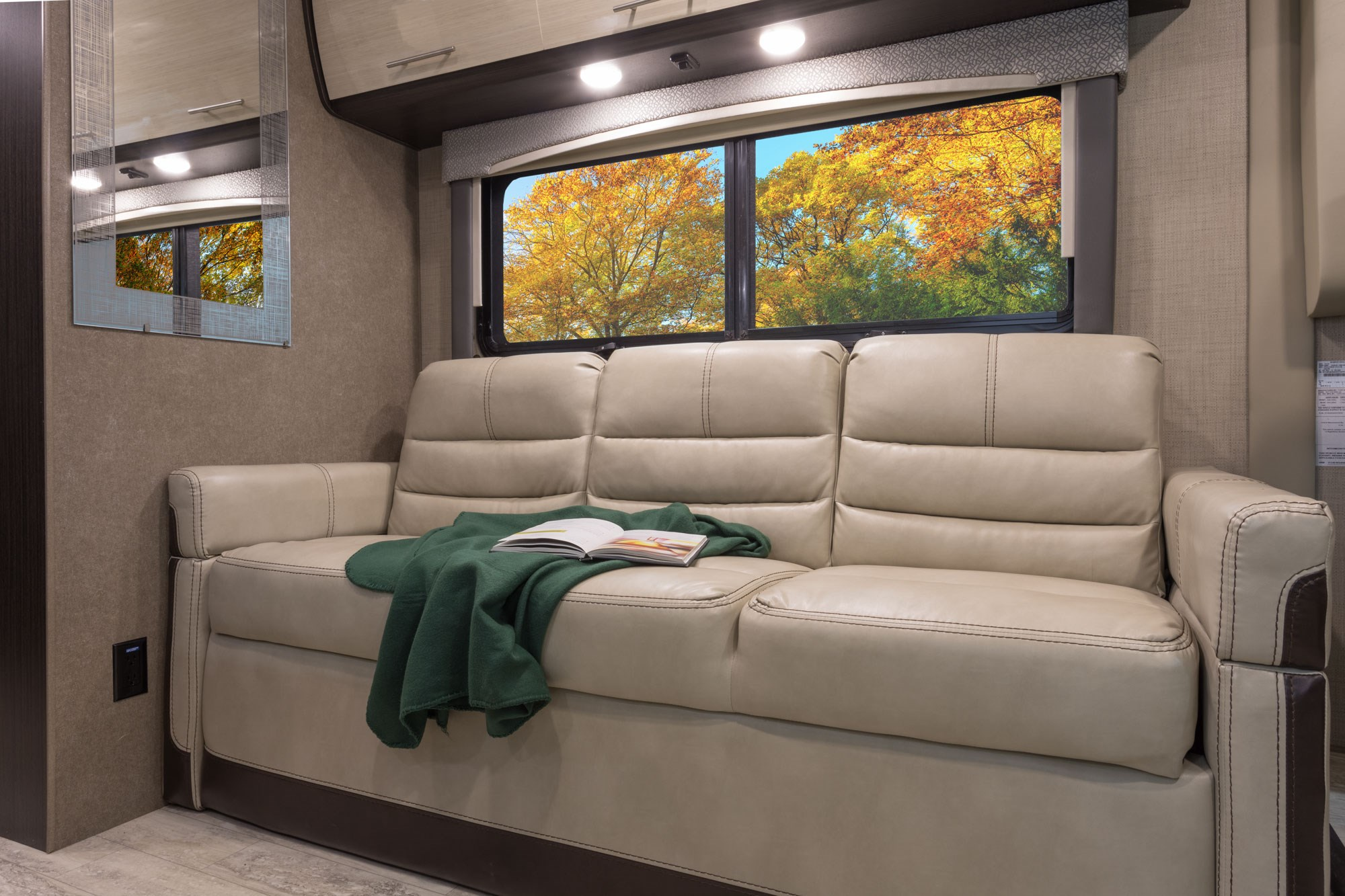 jackknife sofa with seat belts folding table under thor vegas class a upgraded full size rv b andb