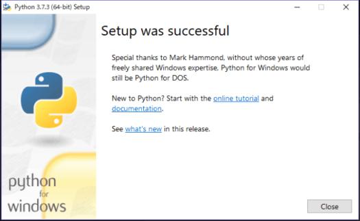 Python インストール完了