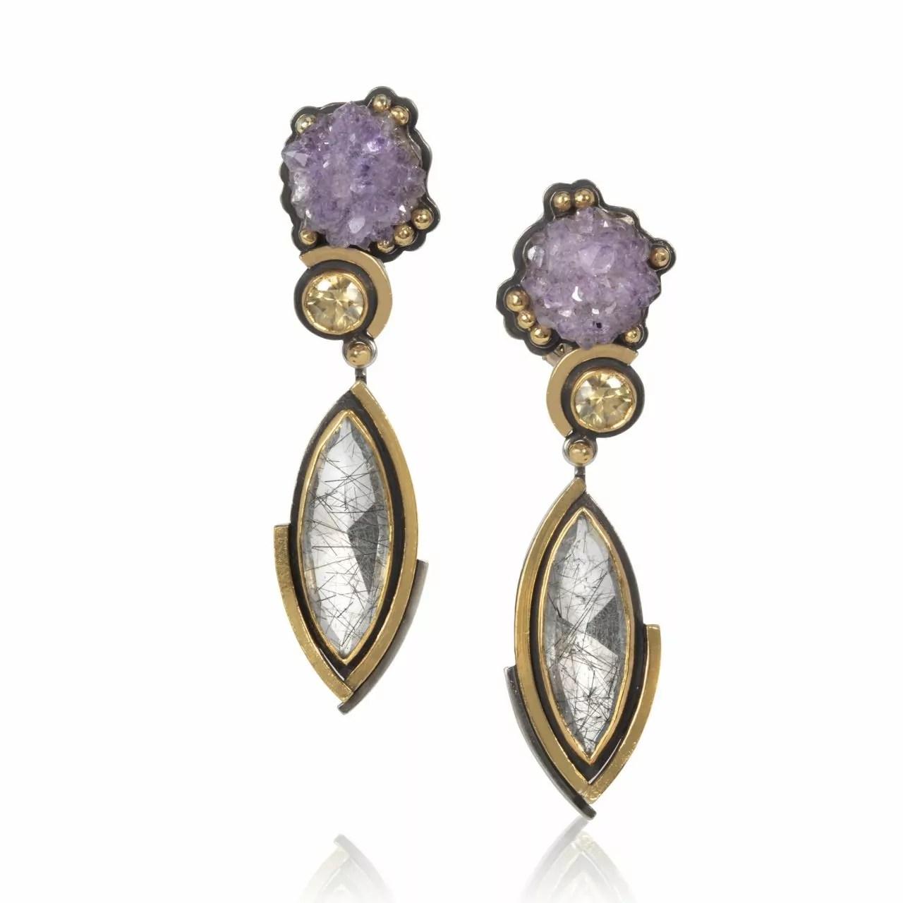 Amethyst, Quartz and Grossular Garnet Earrings
