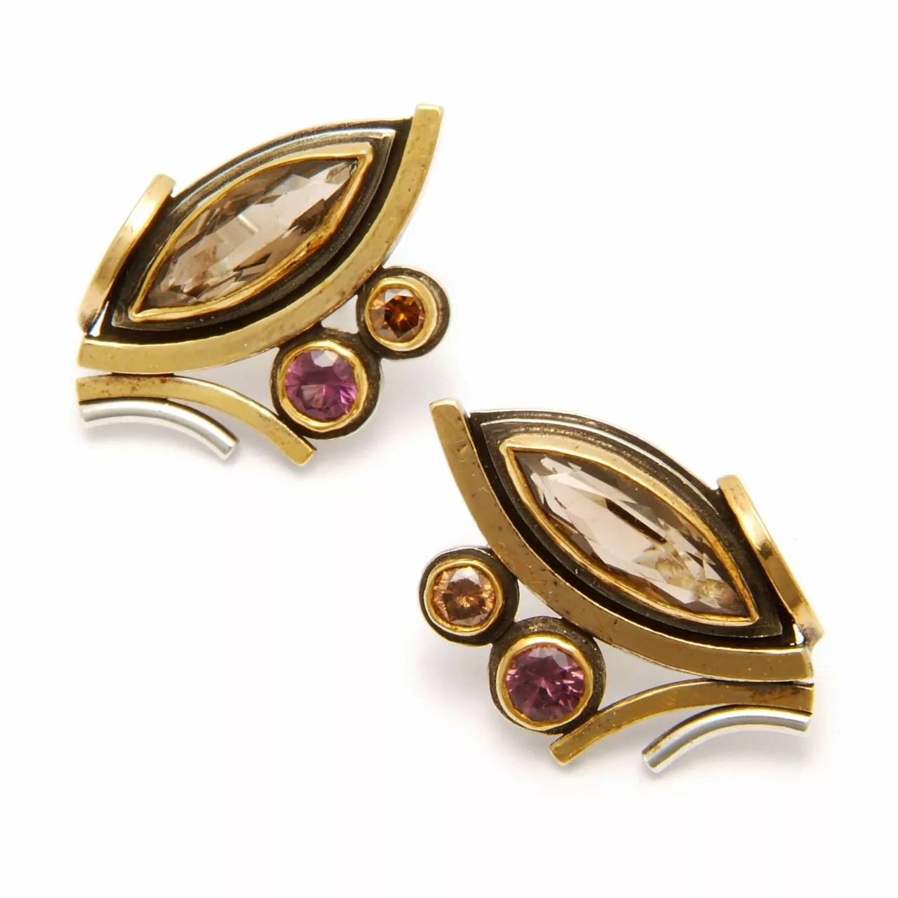 Smoky Topaz, Brown Diamond and Spinel Earrings