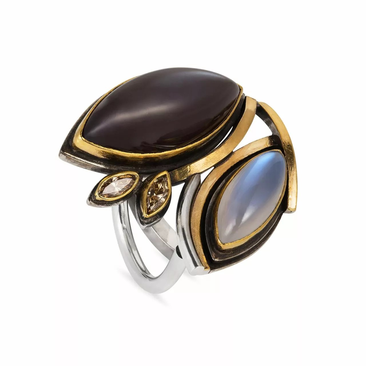 Moonstone and Brown Diamond Ring