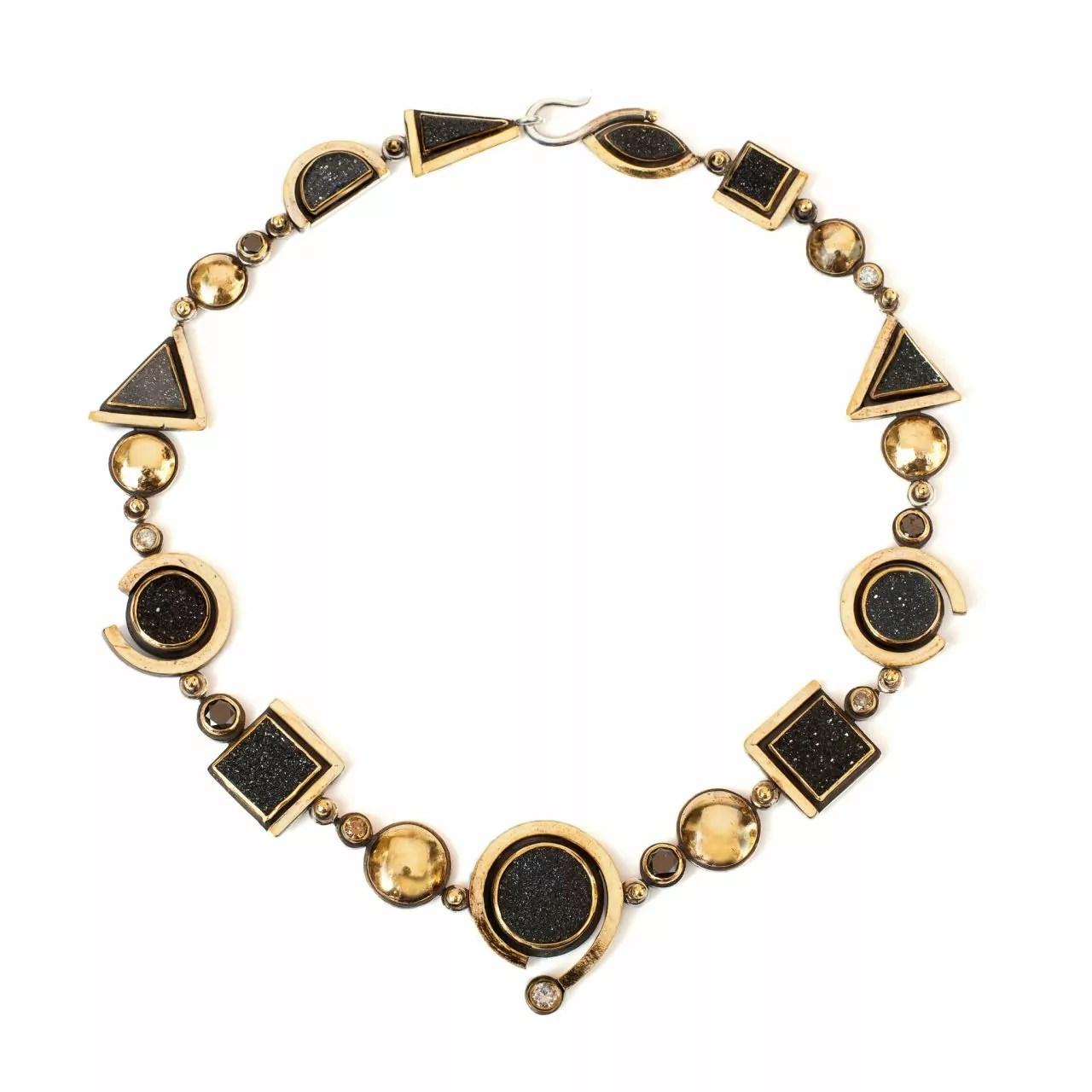 Necklace with Druzies & Cinnamon Diamonds