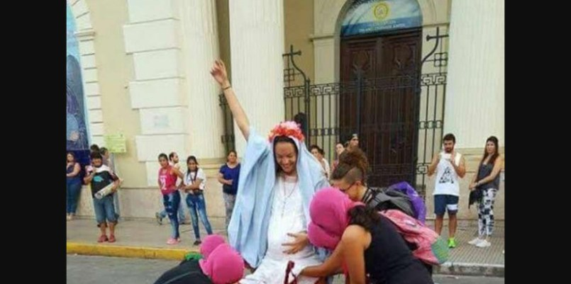 Women's Day Protestors Perform Mock Abortion On Virgin Mary... Try To Kill Jesus