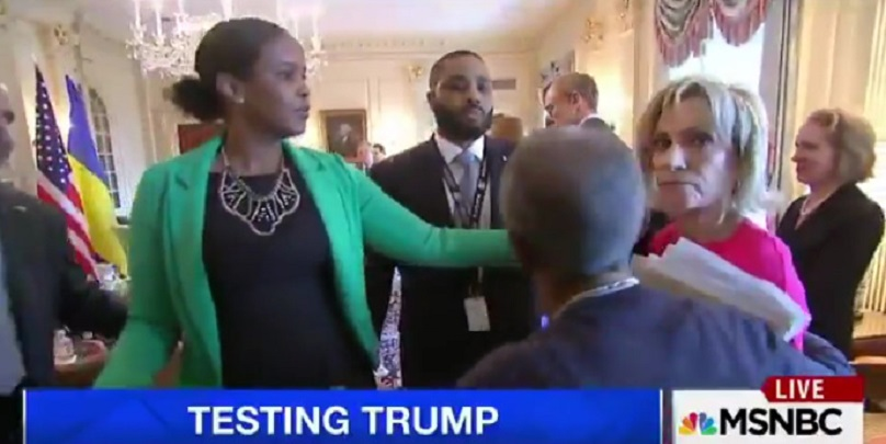 Obnoxious! Andrea Mitchell Physically Removed From Photo Op After Repeatedly Yelling (Video)